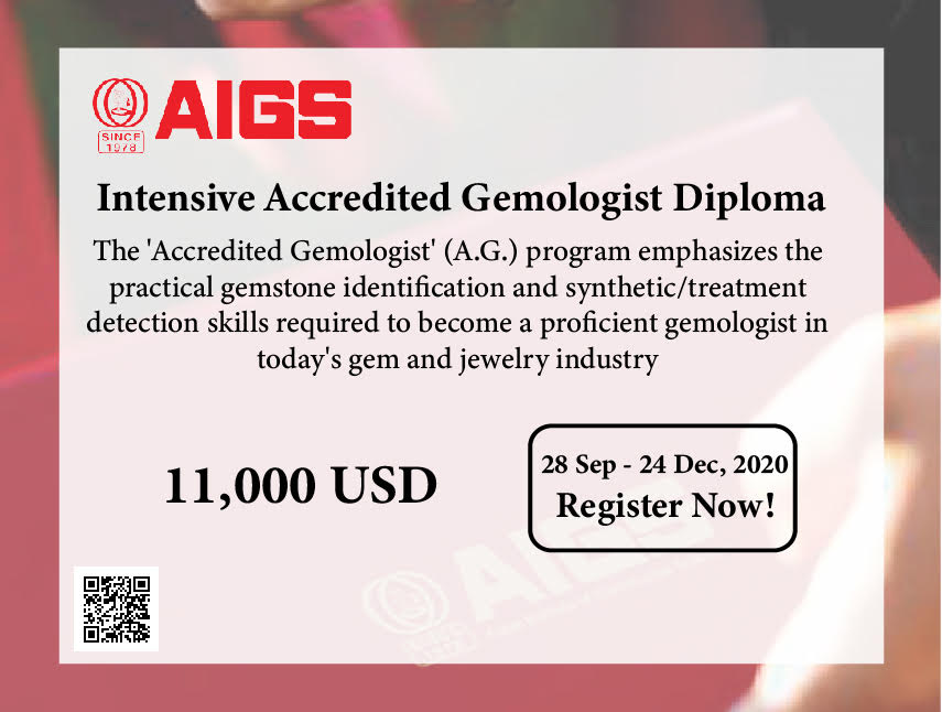 Accredited Gemologist, A.G., Gemstones,Intensive,3 month