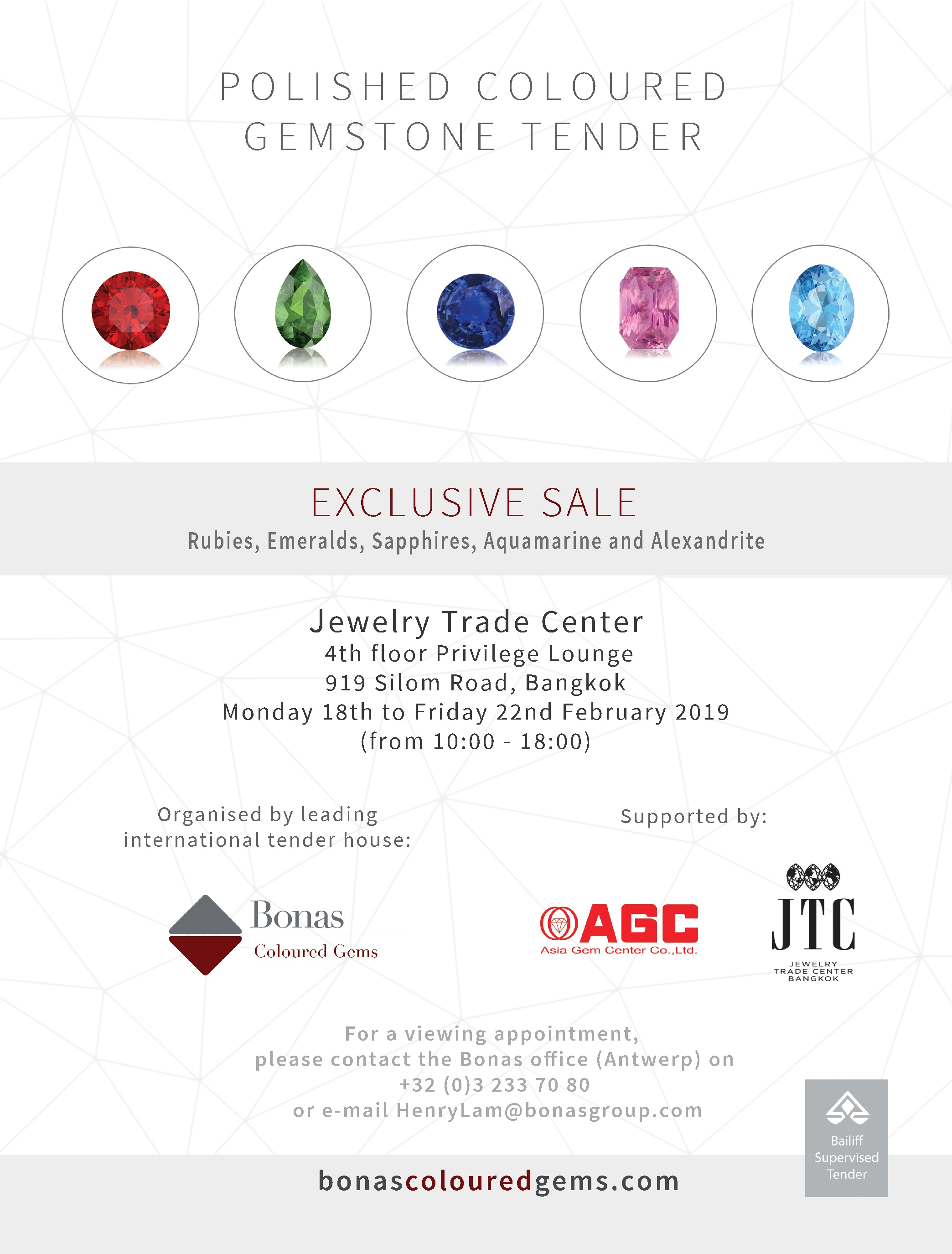 Bonas to Hold an Exceptional Polished Coloured Gem Tender at Jewelry Trade Center - By Isabella Yan Posted : 11 Mar 2019 Category : News